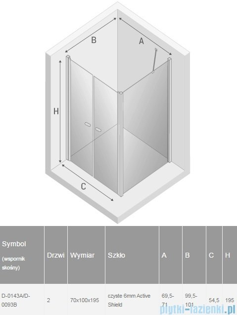 New Trendy New Soleo 70x100x195 cm kabina wspornik skośny przejrzyste D-0143A/D-0093B