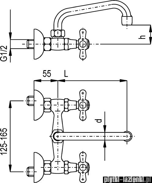 KFA Retro bateria umywalkowa,kolor chrom-złoto 370-340-03