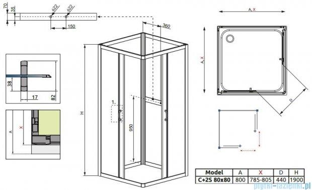 Radaway Premium Plus C+2S kabina czterościenna kwadratowa 80x80 szkło fabric 30463-01-06N/33443-01-06N