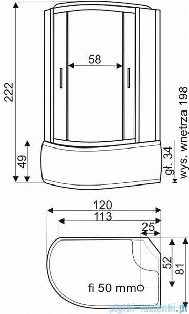 Novoterm Kerra Mauri Kabina natryskowo-masażowa 120x80x220 cm prawa