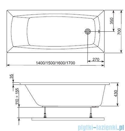 Aquaform Arcline wanna prostokątna 150x70cm 243-05311P