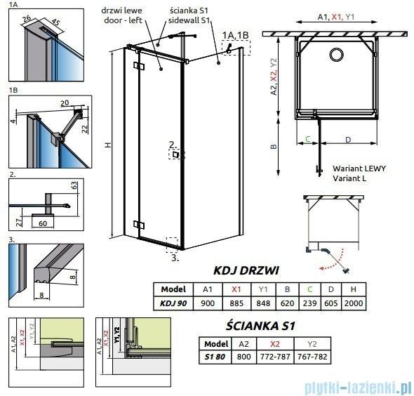 Radaway Essenza New Kdj+S kabina 80x90x80cm lewa szkło przejrzyste 385020-01-01L/384051-01-01/384051-01-01