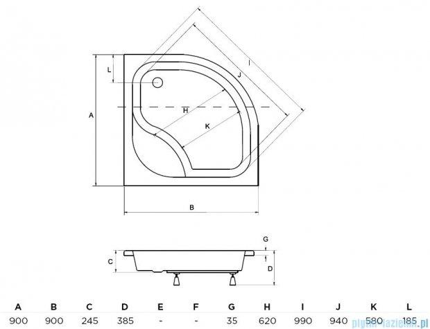 Piramida Diper I Brodzik 90x90x24/35cm półokrągły głęboki z siedziskiem #BAD-90-NK