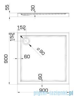 Omnires Manhattan kabina kwadratowa 3M™ Easy Clean 90x90x195cm szkło przejrzyste +brodzik ADC90XLUX-T/3.061