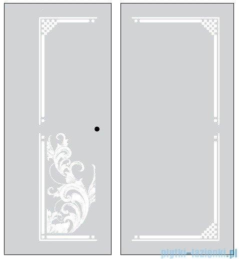 Kerasan Kabina prostokątna prawa, szkło dekoracyjne piaskowane, profile brązowe 80x96 Retro 9141P3