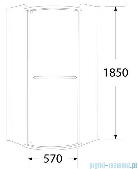 Sea Horse Sigma kabina natryskowa narożna półokrągła 80x80cm szkło grafit BK001/3/RG