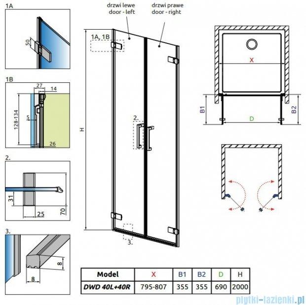 Radaway Arta Dwd drzwi wnękowe 80cm szkło przejrzyste 386030-03-01L/386030-03-01R