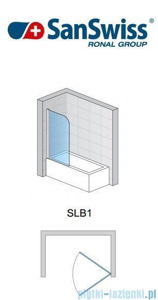 SanSwiss Swing Line SLB1 Parawan 1-częściowy 70cm profil biały Lewy SLB1G07000407