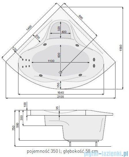 Poolspa Wanna symetryczna FRANCJA XL 150x150 + hydromasaż Smart 2 PHSH710ST2C0000