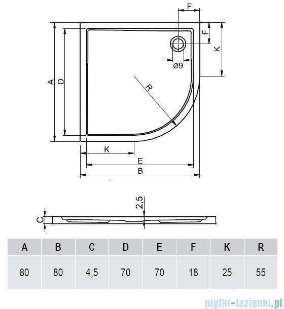 Riho Zurich brodzik półokrągły 278 80x80x4,5 DA86