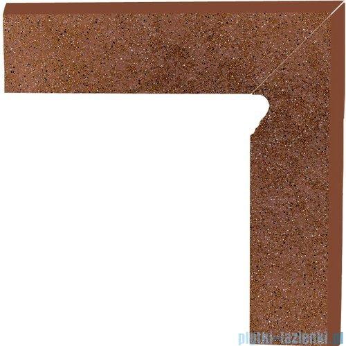 Paradyż Taurus brown klinkier cokół schodowy prawy 30x30
