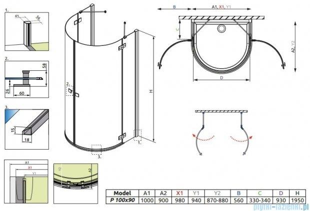 Radaway Almatea P Kabina półokrągła przyścienna 100x90 szkło przejrzyste + Brodzik Delos P + syfon 30722-01-01N