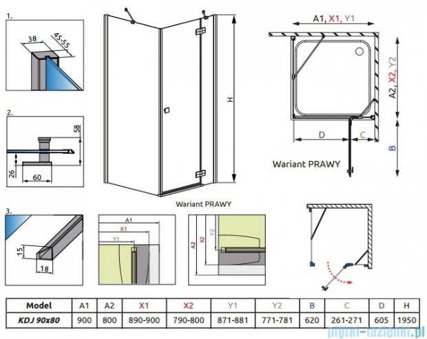 Almatea KDJ Radaway Kabina prysznicowa 90x80 prawa szkło intimato 32148-01-12NR