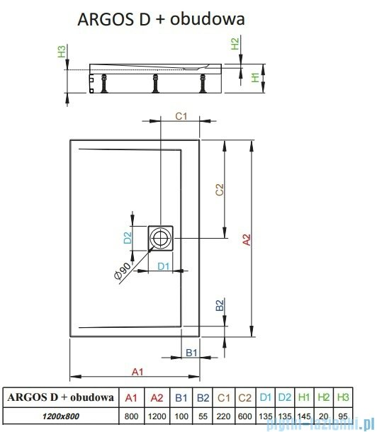 Radaway Brodzik prostokątny Argos D 120x80x14,5 cm + nogi 4ADN812-02