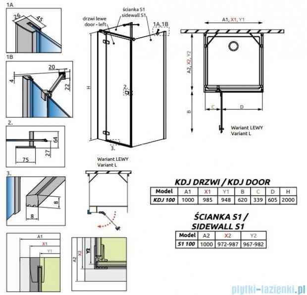 Radaway Fuenta New Kdj+S kabina 100x100x100cm lewa szkło przejrzyste 384022-01-01L/384052-01-01/384052-01-01