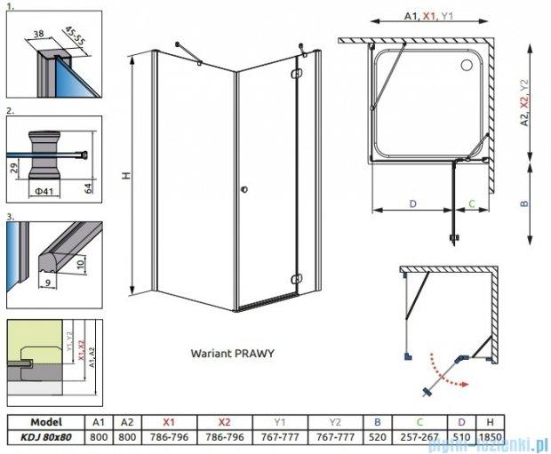 Radaway Torrenta Kdj kabina kwadratowa 80x80 prawa szkło przejrzyste + Brodzik Delos C + syfon 32212-01-01NR