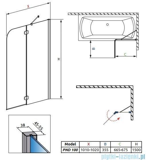Radaway Torrenta PND Parawan nawannowy dwuczęściowy 100cm prawy szkło grafitowe 201202-105NR