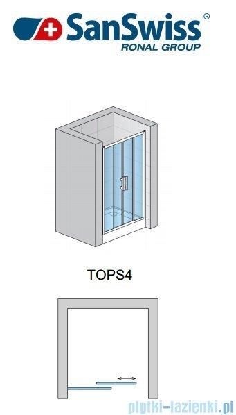 SanSwiss Top-Line TOPS4 Drzwi prysznicowe 4-częściowe 140cm profil biały TOPS414000407