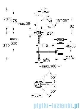 Grohe Bateria umywalkowa Grandera DN15 chrom/złoty+zestaw odpływowy 23303IG0