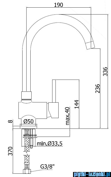 Paffoni Bateria zlewozmywakowa stojąca Stick chrom mat SK180MC