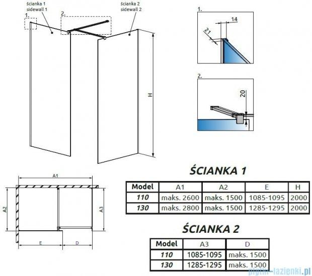 Radaway Modo New III kabina Walk-in 130x110x200 szkło przejrzyste 389134-01-01/389114-01-01/389000-01
