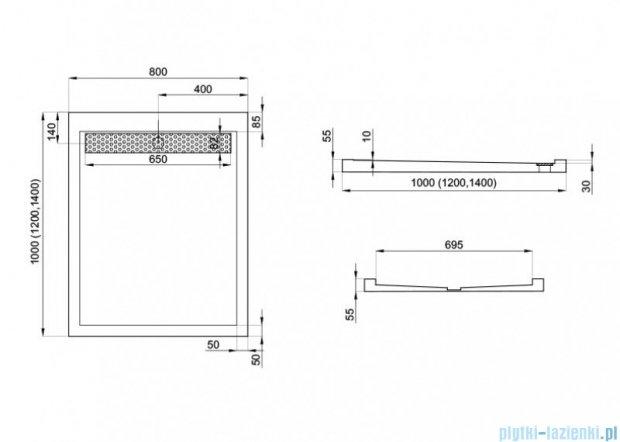 Polimat West brodzik akrylowy posadzkowy z rusztem 100x80cm 00136