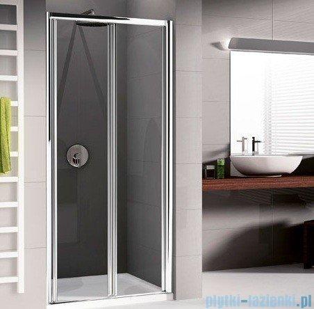 Novellini Drzwi prysznicowe harmonijkowe LUNES S 90 cm szkło przejrzyste profil biały LUNESS90-1D