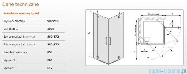 Sanplast kabina narożna kwadratowa KN4/AVIV-90 szkło przezroczyste 600-084-0410-42-401