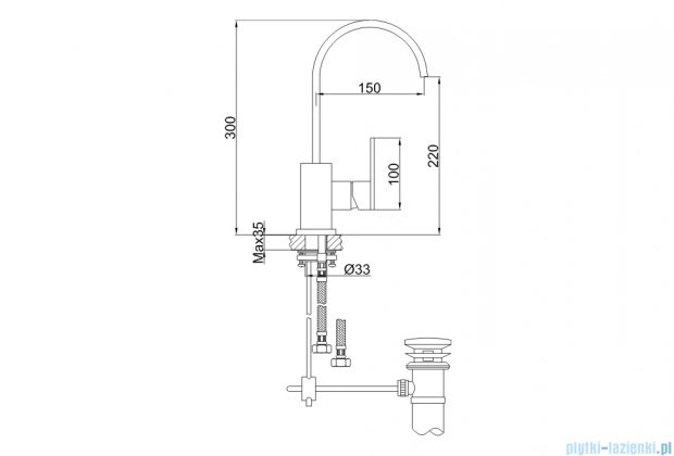 Kohlman Nexen-S 1-otworowa bateria umywalkowa z obrotową wylewką SQB150U
