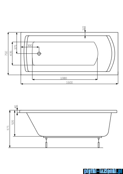 Roca Linea XL wanna prostokątna 160x75 cm akrylowa A24T026000