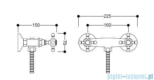 Kerasan Bateria natryskowa Retro złota 739791