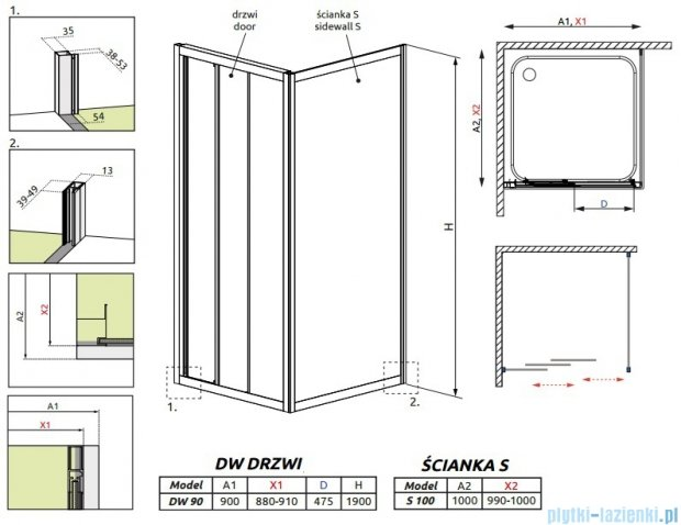Radaway Treviso DW+S kabina 90x100 szkło fabric 32303-01-06N/32423-01-06N