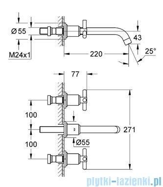 Grohe Atrio 3-otworowa bateria umywalkowa DN 15 chrom 20387000