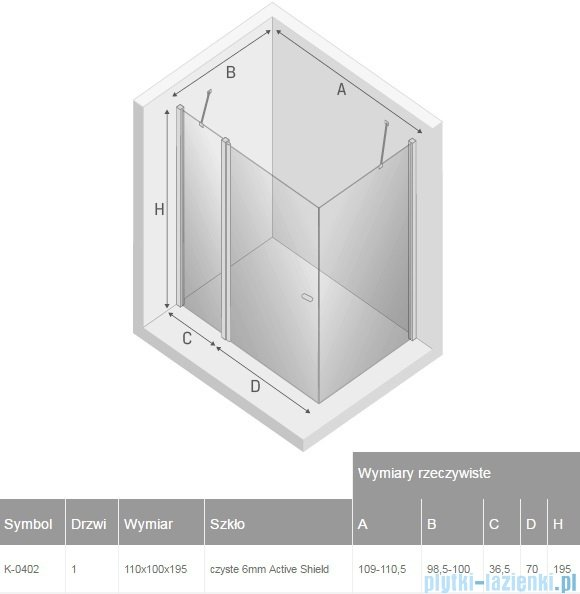 New Trendy New Soleo 110x100x195 cm kabina prostokątna przejrzyste K-0402