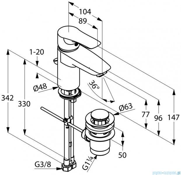 Kludi Tercio Xl Jednouchwytowa bateria umywalkowa DN 10 chrom 384840575