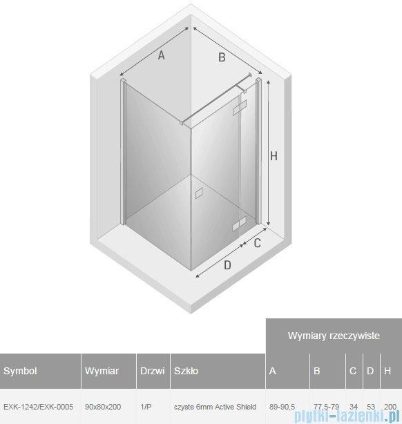 New Trendy Reflexa 90x80x200 cm kabina prostokątna prawa przejrzyste EXK-1242/EXK-0005
