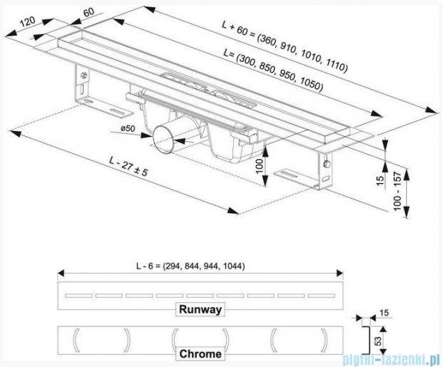 Ravak Odpływ liniowy Chrome 850 nierdzewny X01427