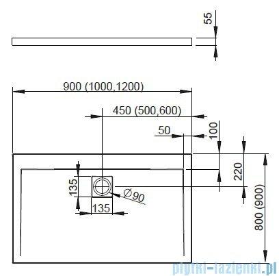 Radaway Eos II DWD+S Kabina 100x80 lewa szkło przejrzyste + brodzik Argos D + syfon 3799492-01/3799410-01R/4AD810-01
