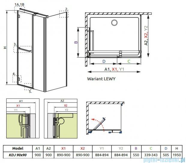 Carena Kdj Radaway Kabina kwadratowa 90x90 lewa szkło brązowe 34402-01-08NL