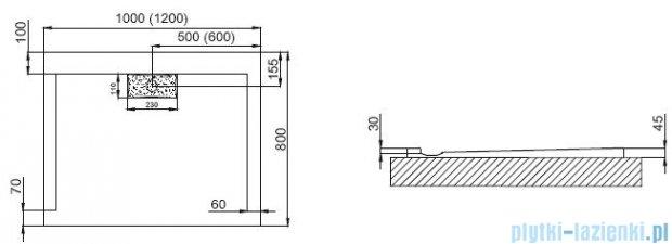 Polimat Comfort brodzik akrylowy posadzkowy 100x80 biały mat 00139