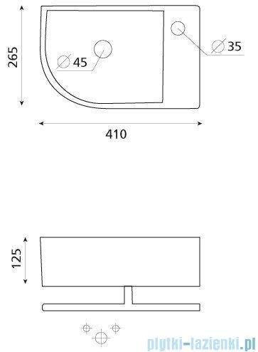 Bathco umywalka narożna z relingiem Paterna 41x26,5 cm 4907