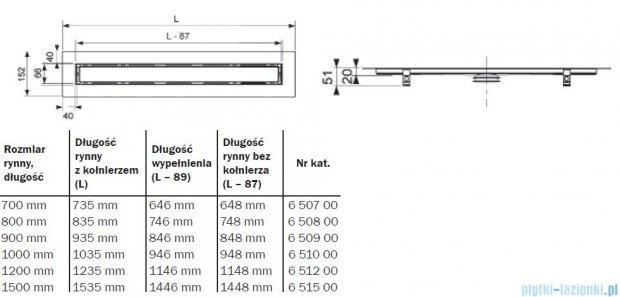 Tece Rynna prosta do kamienia naturalnego Tecedrainline wraz z rusztem 120 cm połysk 6.512.00