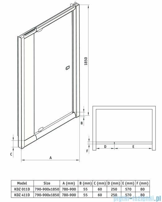 Deante Zoom drzwi wnękowe uchylne 90x185 cm grafit KDZ 411D