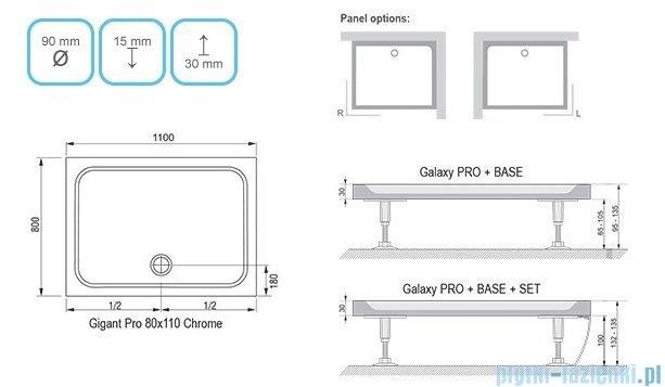 Ravak Brodzik Gigant Pro Chrome 110x80 biały,konglomerat marmurowy XA04D401010