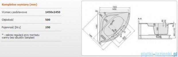Sanplast Altus Wanna symetryczna+stelaż+reling+obudowa WS-lx-kpl-ALT/EX 145x145+SP, 610-120-0760-01-000