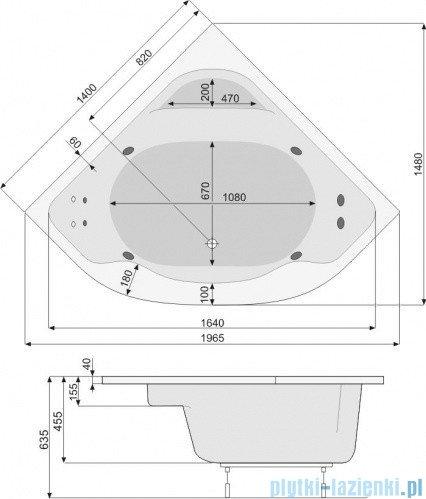 Poolspa Wanna symetryczna KLIO SYM 140x140 + hydromasaż System SD1 PHS3610SD1C0000