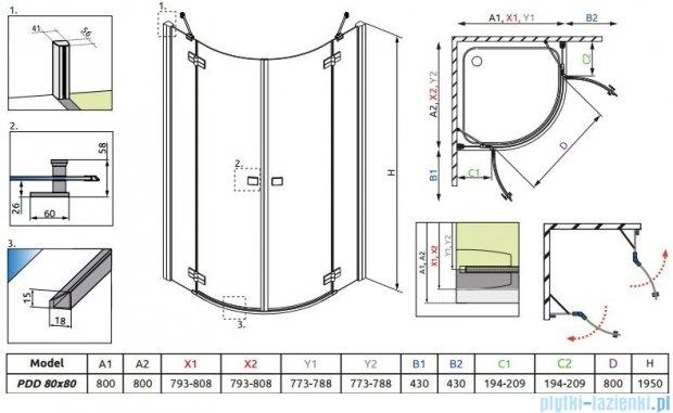 Radaway Almatea PDD GOLD kabina półokrągła 80x80 szkło przejrzyste 30512-09-01N