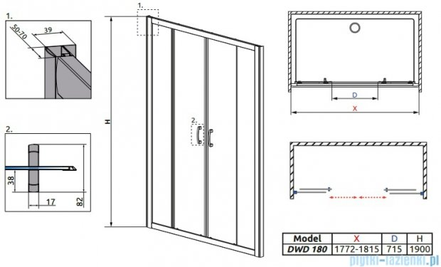 Radaway Premium Plus DWD Drzwi wnękowe 180 szkło przejrzyste 33373-01-01N