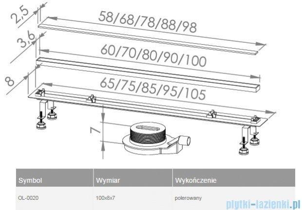 New Trendy Lux Slim odpływ liniowy 100x8x7cm poler OL-0020