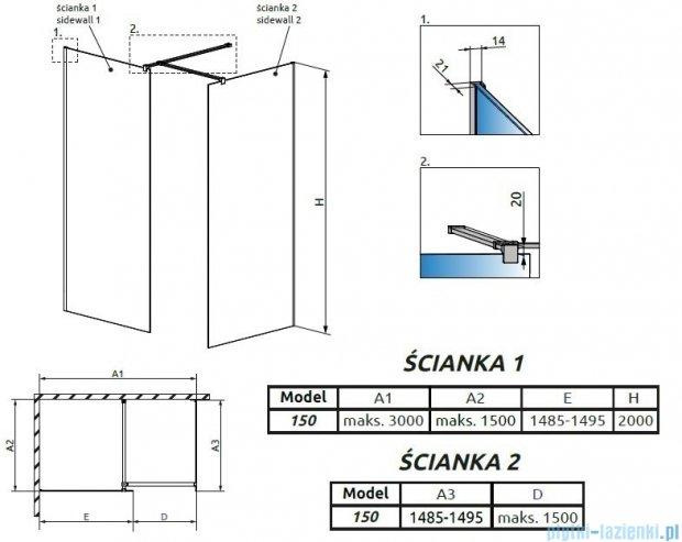 Radaway Modo New III kabina Walk-in 150x150x200 szkło przejrzyste 389154-01-01/389154-01-01/389000-01